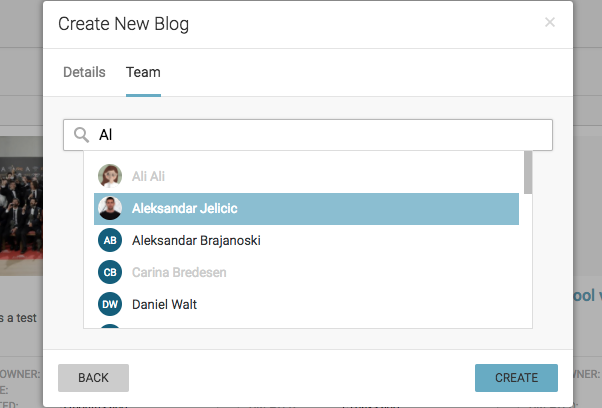 Selecting users on Live Blog