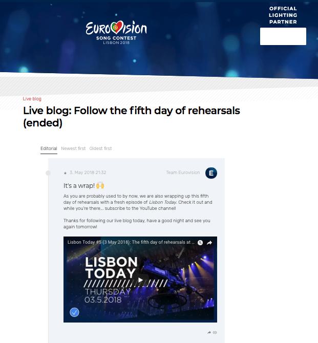 Eurovision's live blog