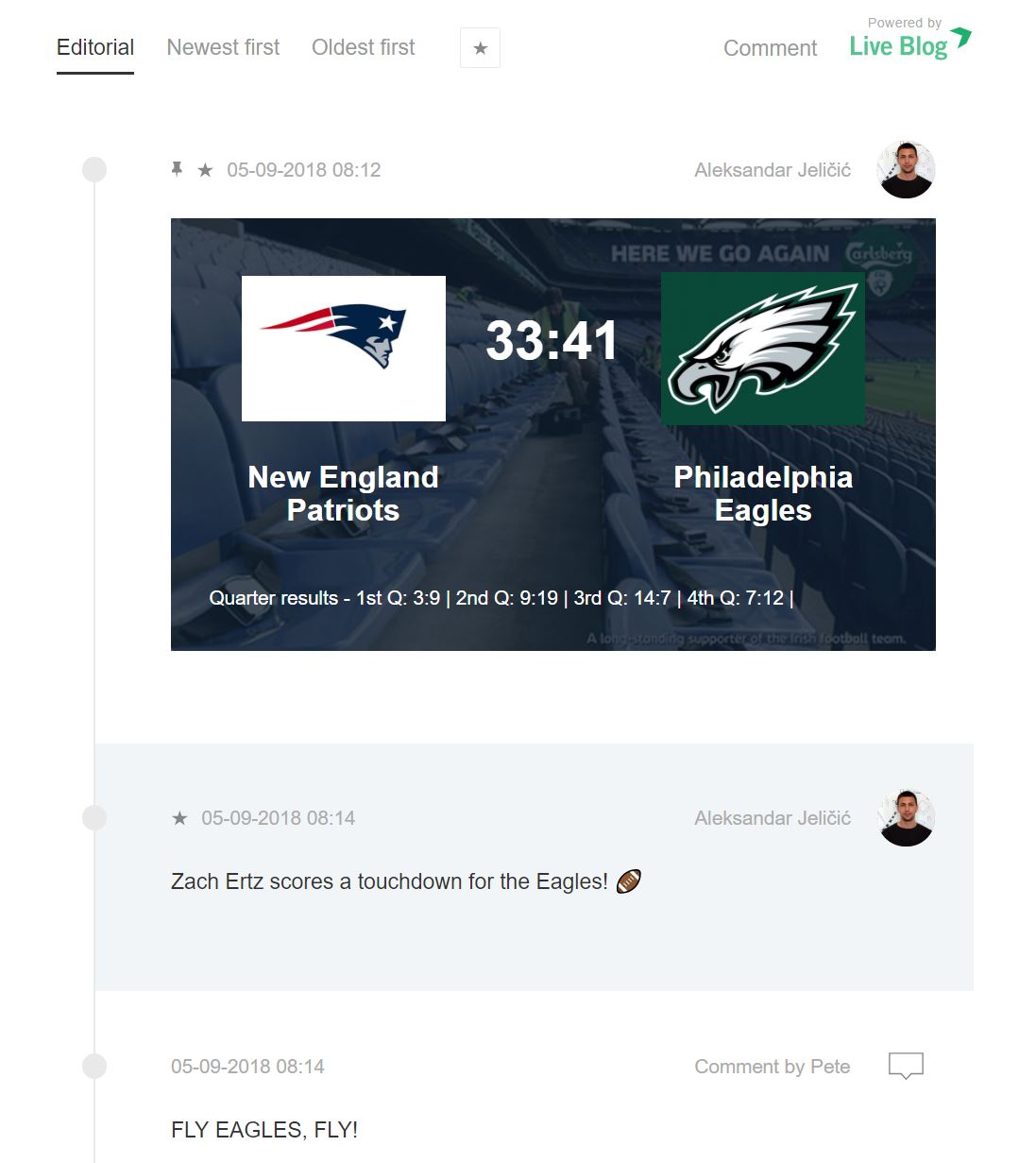 Live blogging American football