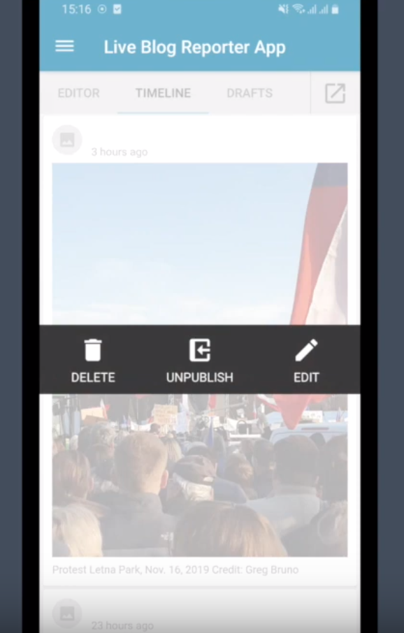 Live Blog Reporter app - Delete, unpublish or edit