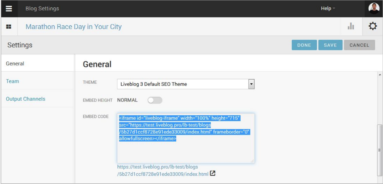 Embed your live blog into your site