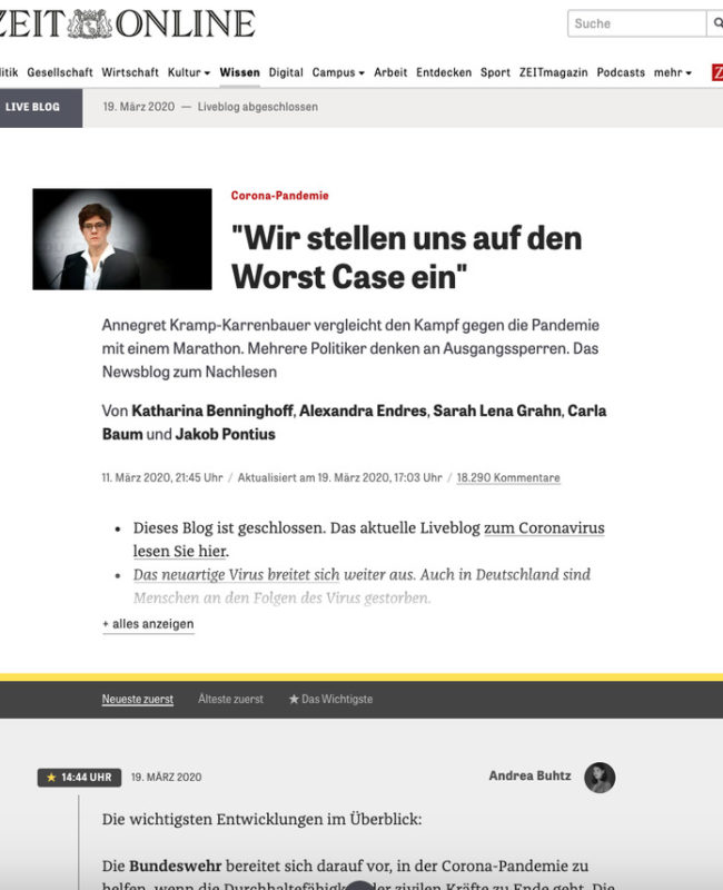Zeit Online coronavirus live blog