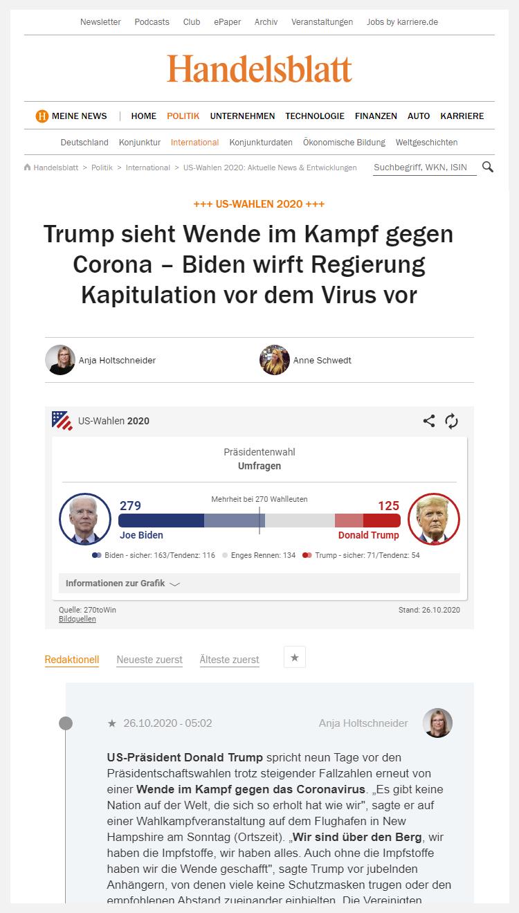 Handelsblatt Live Blogging the US elections