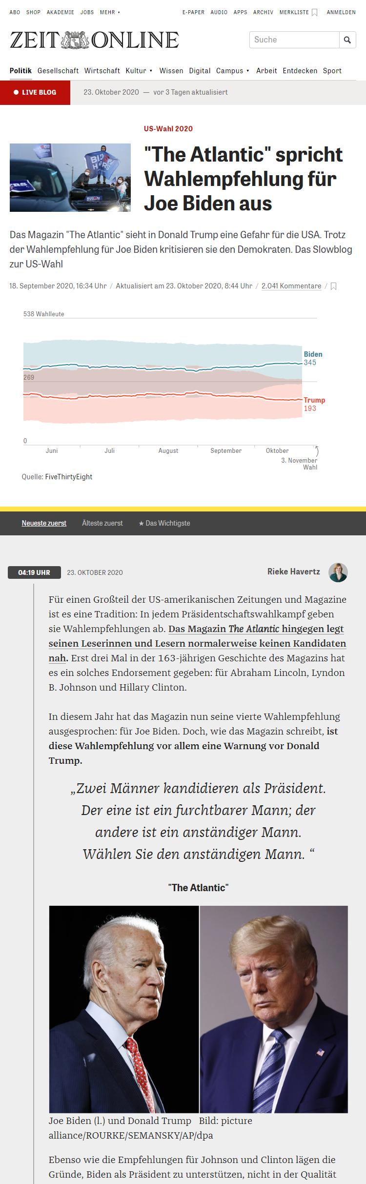 Zeit Online US elections